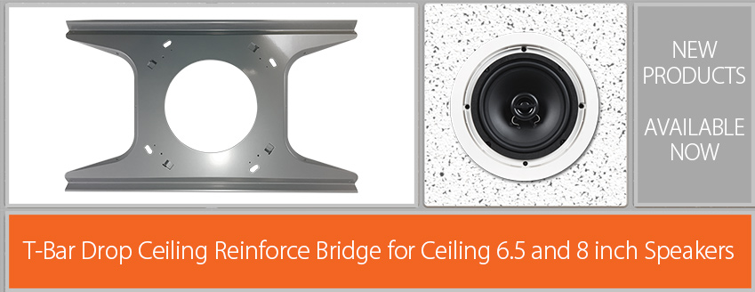 Speaker ceiling tile reinforce t-bar bridge