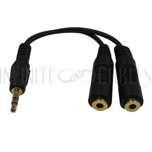 3.5mm Stereo Male to 2x 3.5mm Stereo Female Cables