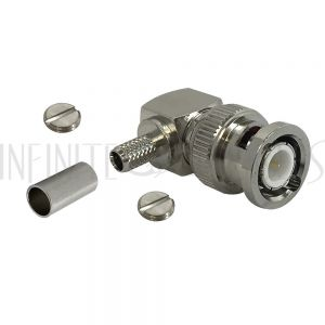 BNC Right Angle Male Crimp Connector for RG58 (LMR-195) 50 Ohm