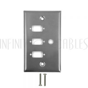 3-Port DB9 size cutout + 1 x 3/8 inch hole Stainless Steel Wall Plate