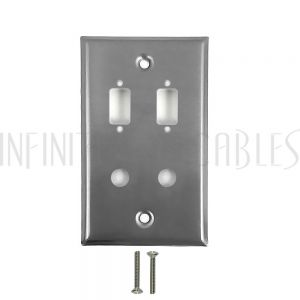 2-Port DB9 size cutout + 2 x 3/8 inch hole Stainless Steel Wall Plate