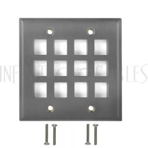 Double Gang, 12-Port Keystone Stainless Steel Wall Plate