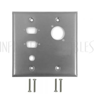 Double Gang, 2-Port DB9 size cutout , 1 x 3/8 inch hole, 1 x XLR Stainless Steel Wall Plate