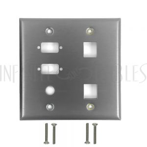 Double Gang, 2-Port DB9 size cutout , 1 x 3/8 inch hole, 2 x Keystone Stainless Steel Wall Plate