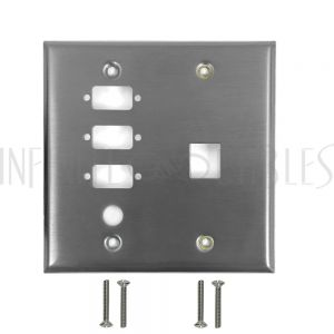 Double Gang, 3-Port DB9 size cutout , 1 x 3/8 inch hole, 1 x Keystone Stainless Steel Wall Plate