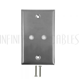 Wall Plate, 2 Hole, Stainless Steel