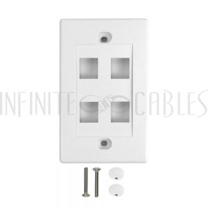Wall Plate, 4-Port Keystone - White