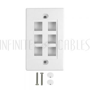 Wall Plate, 6-Port Keystone - White