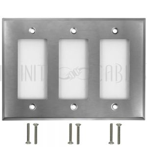 Decora Triple Gang Wall Plate - Stainless Steel