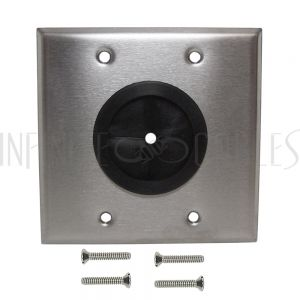 Cable Pass-through Wall Plate, Double Gang - Stainless Steel