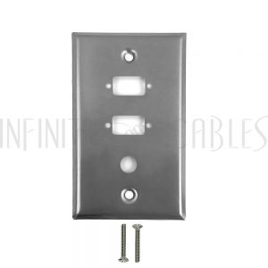 2-Port DB9 size cutout + 3/8 inch hole Stainless Steel Wall Plate