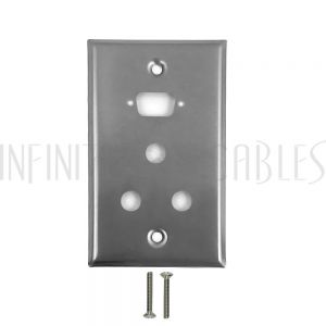 1-Port DB9 size cutout + 3 x 3/8 inch hole Stainless Steel Wall Plate