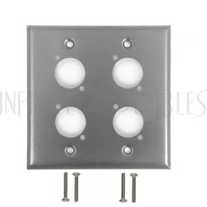 Double Gang, 4-Port XLR Stainless Steel Wall Plate