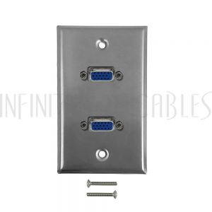 2-Port VGA Wall Plate Kit - Stainless Steel