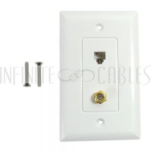 Single gang decora style 1x coax 1x telephone wall plate 6P4C - White