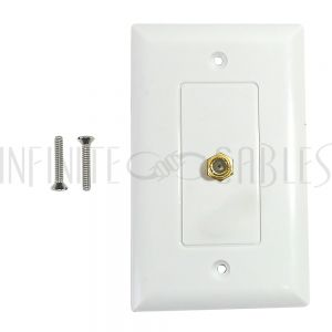 Single gang decora style coax wall plate - White