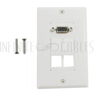 1-Port VGA Wall Plate Kit Decora White (with 4x Keystone inserts)