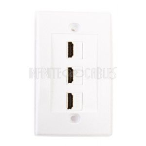 3-Port HDMI Wall Plate Kit - White