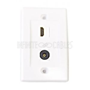 1-Port HDMI + 1-Port Toslink Wall Plate Kit - White
