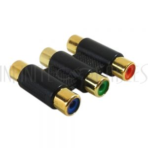 3 x RCA Female to 3 x RCA Female Component Coupler