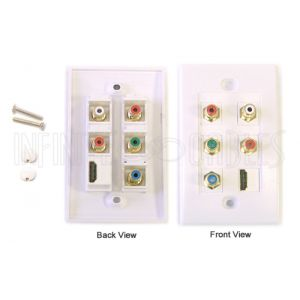 Component + HDMI + Left/Right Audio Wall Plate Kit - White