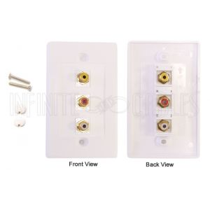 Composite + Left/Right Audio Wall Plate Kit - White