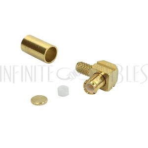 MCX Male Right Angle Crimp Connector for RG174 (LMR-100) 50 Ohm