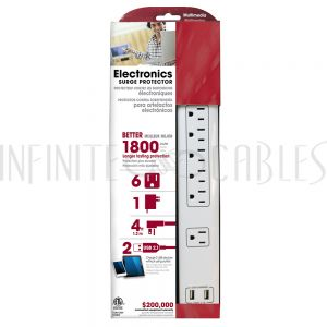 6 Outlet Surge Protector - 1800J, 4ft Cord, Down Angle Plug, 2 USB Charging Ports - White