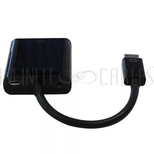 6 inch Mini-HDMI male to VGA female + 3.5mm female adapter - Black - Digital Camera/Camcorder to VGA Display