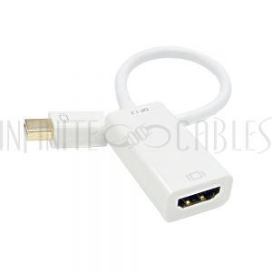 6 inch Mini DisplayPort v1.2 Male to HDMI Female with Audio Adapter, Active 4K x 2K - White