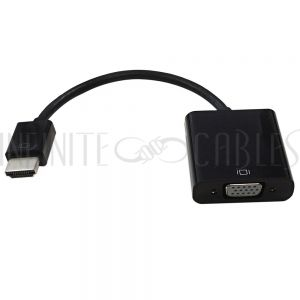 6 inch HDMI Male to VGA Female + 3.5mm Female Adapter - Black - PC/Laptop to VGA Display