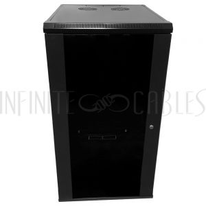 "Wall Mount Cabinet 22U x 23"" Usable Depth, Glass Door, Fans - Black"