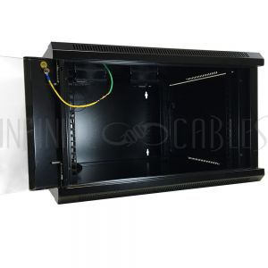 "Wall Mount Cabinet 6U x 19.5"" Usable Depth, Glass Door, Fans - Black"