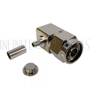 N-Type Right Angle Male Crimp Connector for RG58 (LMR-195) 50 Ohm