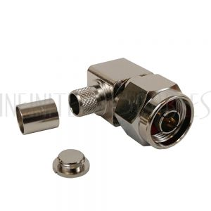 N-Type Right Angle Male Crimp Connector for RG8 (LMR-400) 50 Ohm