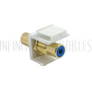 RCA Female/Female Keystone Wall Plate Insert White, Gold Plated - Blue