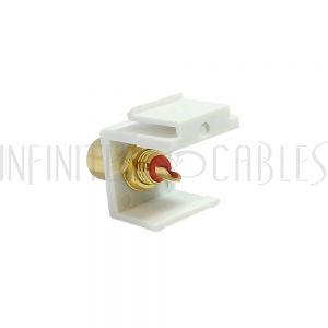 RCA Solder to Female Keystone Wall Plate Insert White, Gold Plated - Black