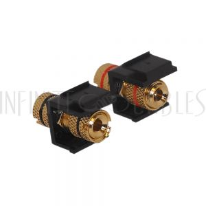 Banana Clip Female/Female Keystone wall plate Insert (Pair, Black/Red), Gold Plated - Black