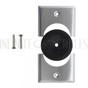 Cable Pass-through Wall Plate, Removable Bottom, Single Gang - Stainless Steel - Split