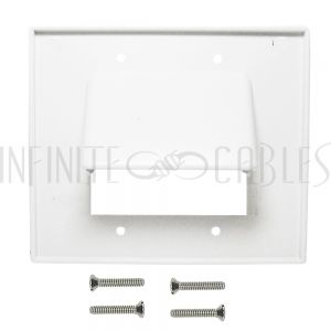 Cable Pass-through Wall Plate, Double Gang - White