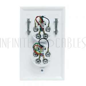 1-Port Telephone Wall Plate with Hanging Hooks - Screw Terminal - White