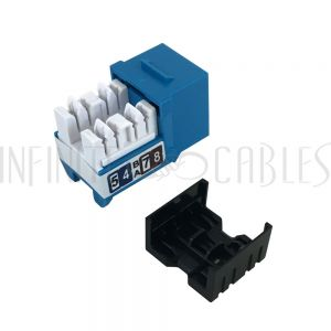 RJ45 Cat5e Slim Profile Jack, 110 Punch-Down - Blue