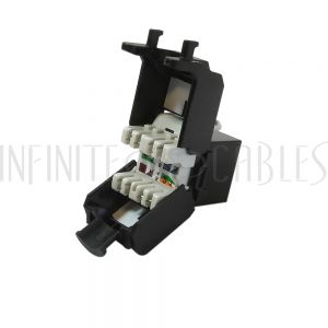 RJ45 CAT6A Slim Profile 180 Degree Jack, 110 Punch-Down Style or Tool-Less - Black