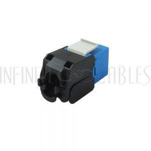 RJ45 CAT6A Slim Profile 180 Degree Jack, 110 Punch-Down Style or Tool-Less - Blue