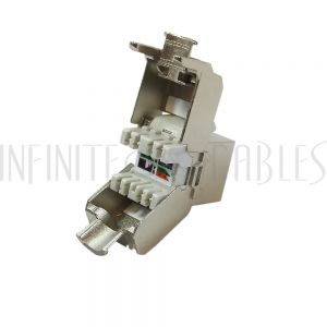 RJ45 Cat6a Slim Profile Jack, 110 Punch/Tool-Less, Shielded - Stainless Steel
