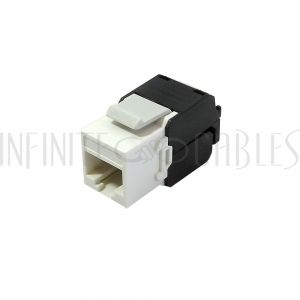 RJ45 CAT6A Slim Profile 180 Degree Jack, 110 Punch-Down Style or Tool-Less - White