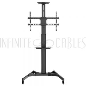 TV Cart with Shelf - Tilt, Pivot, Adjustable Height, VESA 600x400, Fits TV Sizes from 37 to 70 Inch