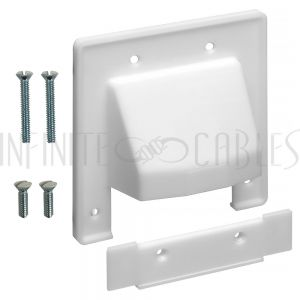 Cable Pass-through Wall Plate, Removable Bottom, Double Gang - White