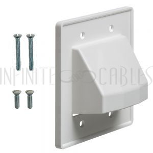 Cable Pass-through Wall Plate, Double Gang Reversible - White