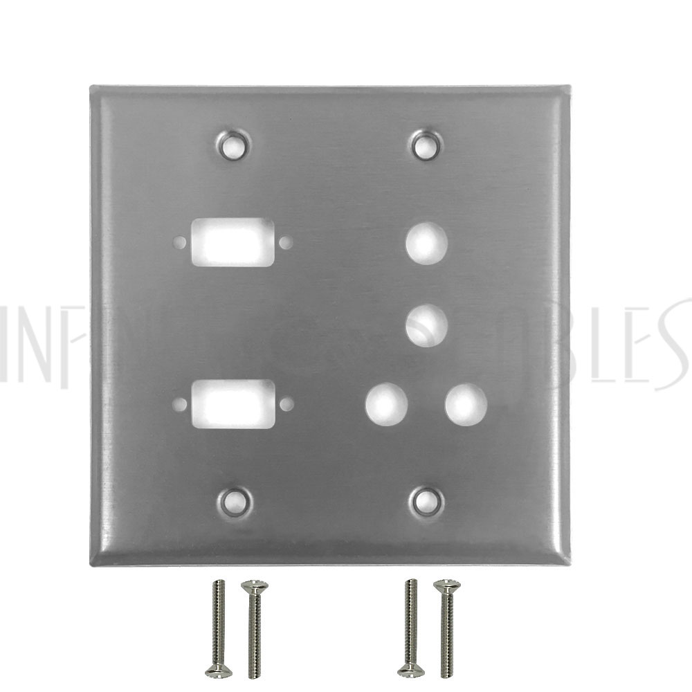 Keystone  8 Hole//2 Gang Wall plate Stainless Steel